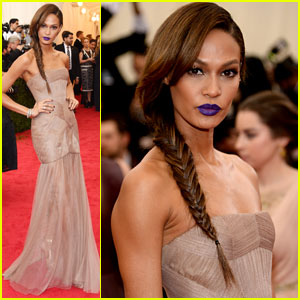 Joan Smalls Sports Dark Purple Lipstick at Met Ball 2014