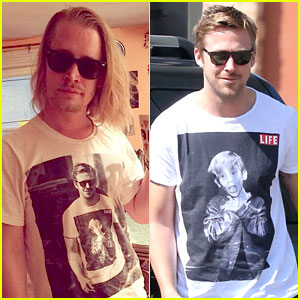 Macaulay Culkin Wears T-Shirt of Ryan Gosling Wearing a Macauley T-Shirt!