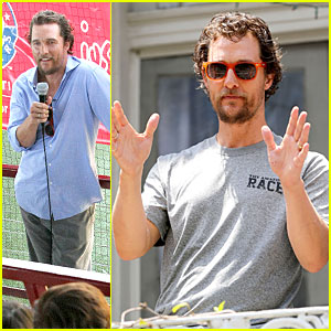 Matthew McConaughey Plays Football with Brad Pitt in New Orleans!