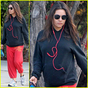 Mila Kunis Hides Her Baby Bump in Her Sweats on a Dog Walk