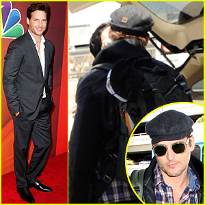 Peter Facinelli Gives Jaimie Alexander a Goodbye Kiss at LAX