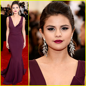 Selena Gomez is Absolutely Beautiful in Burgundy at Met Ball 2014!