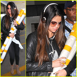 Selena Gomez: Luggage Rolls at LAX