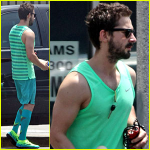 Shia LaBeouf Wears His Totally Green Outfit Two Days in a Row