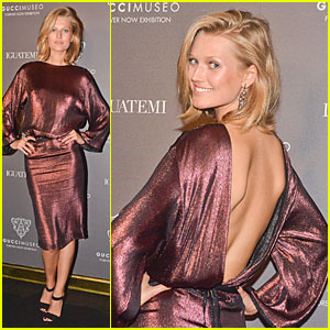 Toni Garrn Bares Sexy Back in Metallic Dress at Gucci Museo Exhibit!