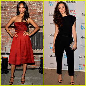 Zoe Saldana Really is Rosemary in a Red Rose-Colored Dress!