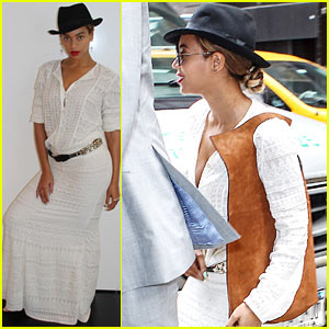 Beyonce is Summer Chic in White Outfit & Fedora in NYC