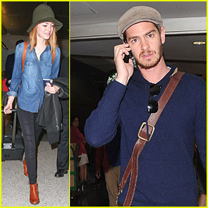Emma Stone & Andrew Garfield Are Separated for a Short Time at LAX Airport