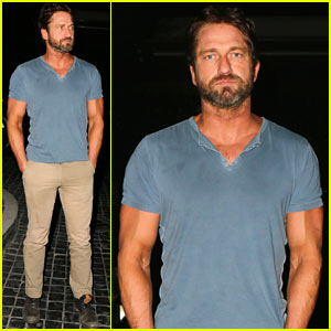 Gerard Butler Brings His Buff Bod Out to Dinner with Some Pals