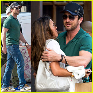 Gerard Butler Hugs & Kisses Mystery Woman Outside His Hotel