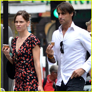Hilary Swank & Boyfriend Laurent Fleury Cool Down with Gelato!