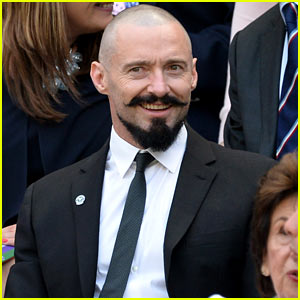 Hugh Jackman Sits in the Stands at Wimbledon Tennis Match