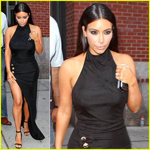 Kim Kardashian Shows Off Legs for Days in Dress with Sexy Slit