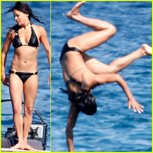 Michelle Rodriguez Soaks Up the Sun in a Bikini, Does Crazy Jumps From Her Yacht Into the Water Below!
