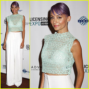 Nicole Richie Rocks Purple Hair & White Bra at Licensing Expo!