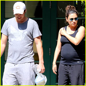 Pregnant Mila Kunis & Ashton Kutcher Pay a Visit to Her Parents!