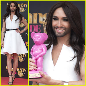 Bearded Drag Queen Conchita Wurst Wins Award at Madrid Pride Celebration