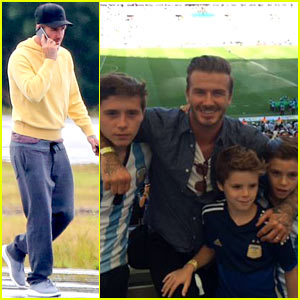 David Beckham & His Sons Were Rooting for Argentina at the World Cup 2014