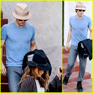 Ian Somerhalder & Nikki Reed Get Cleaned Up at Her House After Sweaty Workout