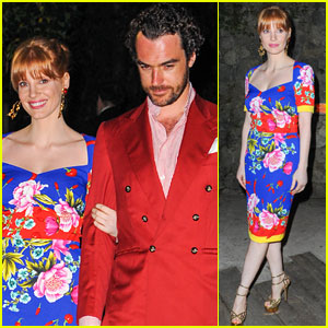 Jessica Chastain & Boyfriend Gian Luca Passi De Preposulo Get All Dressed up for Ischia Gala!