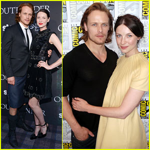 Outlander's Sam Heughan Rocks a Kilt at Comic-Con with Caitriona Balfe!