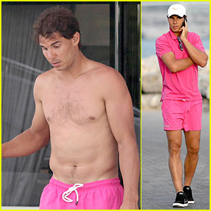 Rafael Nadal is Confident, Shirtless, & Pink During Ibiza Vacation!