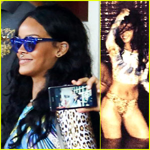 Rihanna Takes a Night Swim with a Friend!