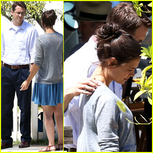 Ryan Reynolds Wraps Arm Around Katie Holmes on Set