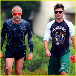 Zac Efron Works on His Fitness with Gianluca Vacchi in Sardinia!