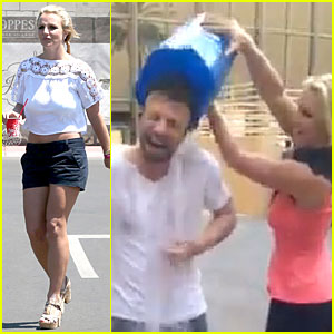 Britney Spears Dumps Ice On Manager Larry Rudolph During ALS Ice Bucket Challenge - Watch Now!