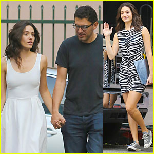 Emmy Rossum & Boyfriend Sam Esmail Hold Hands on 'Shameless' Set