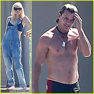 Gwen Stefani Bares Some Skin In Overalls During Vacation with Shirtless Husband Gavin Rossdale