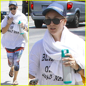 Kaley Cuoco Runs Out of Yoga with a Towel Around Her Neck