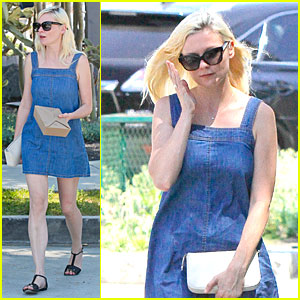 Kirsten Dunst Knows How to Wear a Denim Dress at Lunch