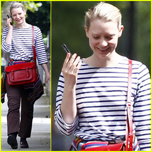 Mia Wasikowska Enjoys Her Day Off with a Funny Phone Call