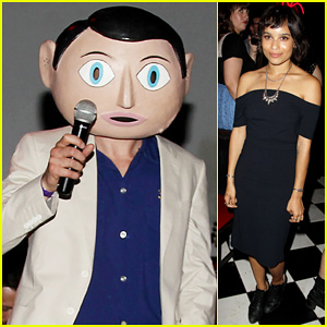 Michael Fassbender Wears a Mask & Reunites with Ex-Girlfriend Zoe Kravitz at 'Frank' After Party!
