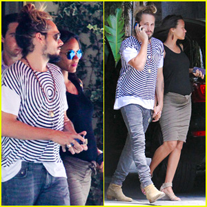 Pregnant Zoe Saldana & Hubby Marco Perego Treat Themselves to Sunset Tower Lunch Date!