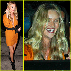 Rosie Huntington-Whiteley Wows in Sexy Plunging Dress for Dinner with Jason Statham