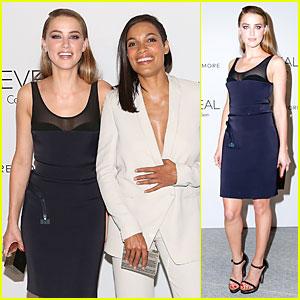 Amber Heard & Rosario Dawson Meet Up at Reveal Calvin Klein Launch Party