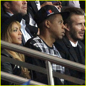 Beyonce & Jay Z Catch Soccer Game With David Beckham