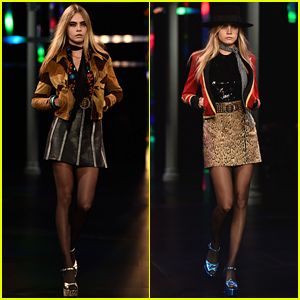 Cara Delevingne Is Leggy & Gorgeous for Saint Laurent's Paris Fashion Show