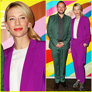Cate Blanchett Rocks a Bright Purple Pantsuit to Announce Her Theater's New Season