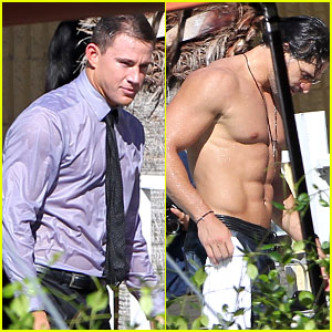 Channing Tatum Goes Swimming Fully Clothed with Shirtless Joe Manganiello for 'Magic Mike XXL'!