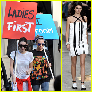 Kendall Jenner & Cara Delevingne Carry Protest Signs After Paris Fashion Show