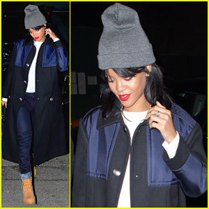 Rihanna Covers Up Her New Short Hair at the Studio!
