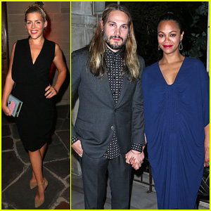 Zoe Saldana Covers Up Baby Bump at LAXART's Biannual Gala