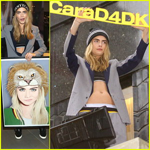 Cara Delevingne Becomes Daredevil & Promotes DKNY Collection On Top of Bloomingdale's Marquee!