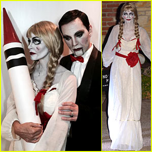 courteney cox dolls up as annabelle for halloween with fiance just jared