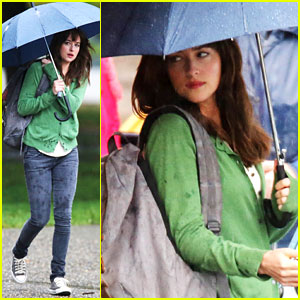 Dakota Johnson Revisits Anastasia for 'Fifty Shades of Grey' Reshoots in the Rain!