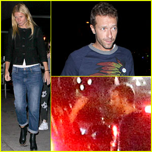 Gwyneth Paltrow Touches Chris Martin's Face After Dinner